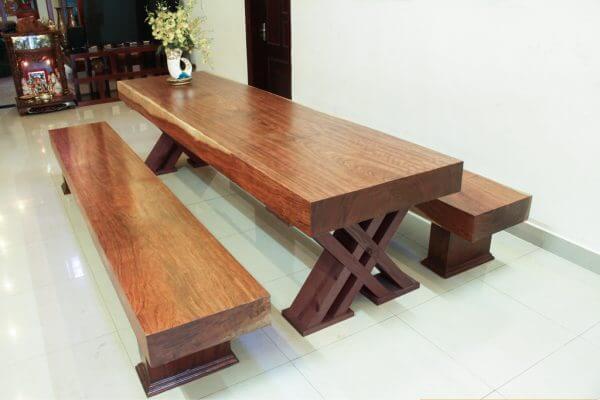 Bộ bàn 3 tấm gỗ gõ vàng || Minh Long Sang Trọng