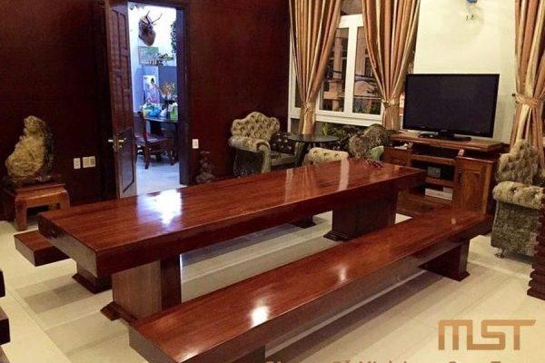 Bộ bàn 3 tấm gỗ Cẩm nguyên khối sang trọng cho phòng khách