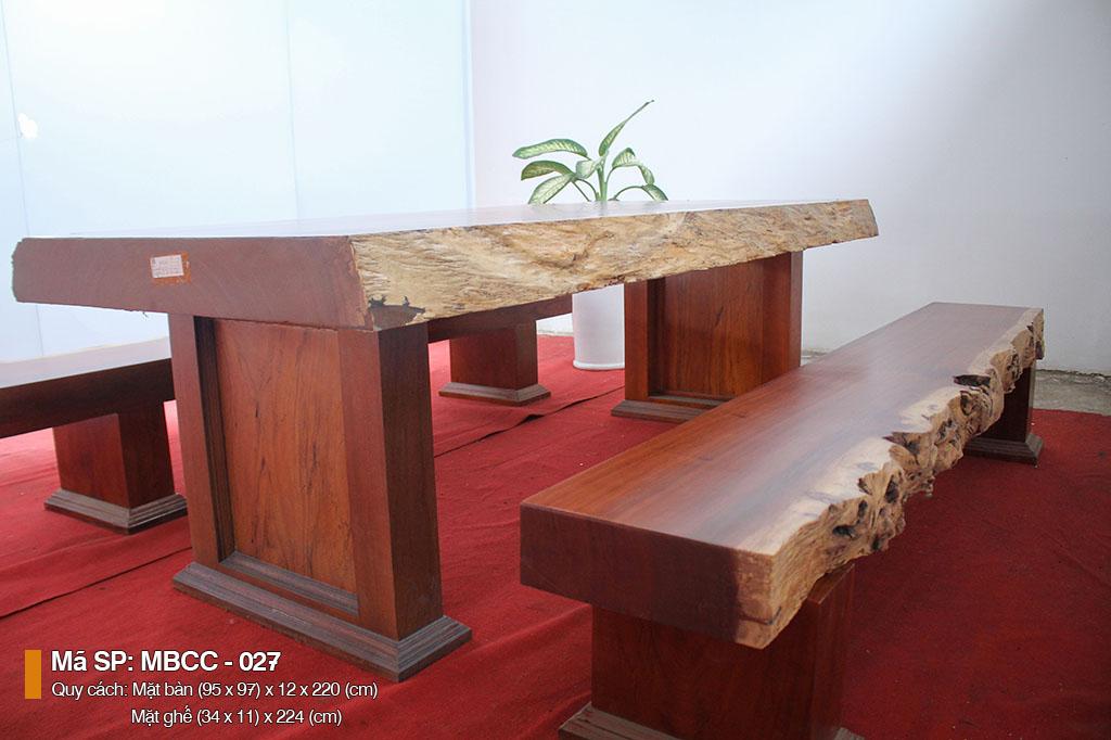 Bàn ba tấm gỗ cẩm nguyên khối MBCC – 207