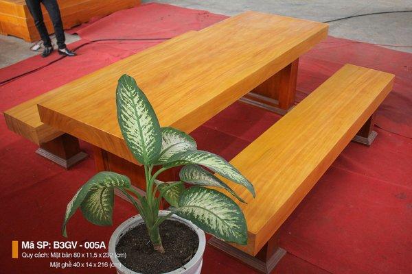 Bộ bàn ghế 3 tấm gõ vàng || MINH LONG SANG TRỌNG