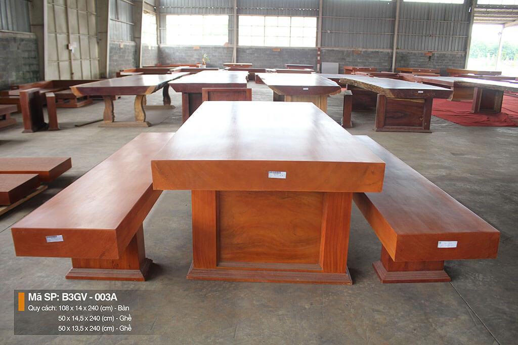 Bộ bàn ba tấm gõ vàng nguyên tấm – B3GV.003A