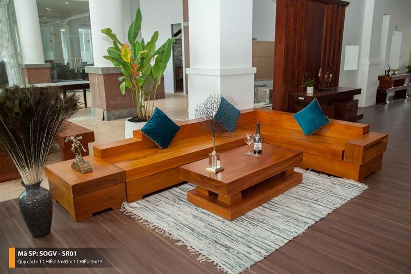 sofa gỗ gõ vàng