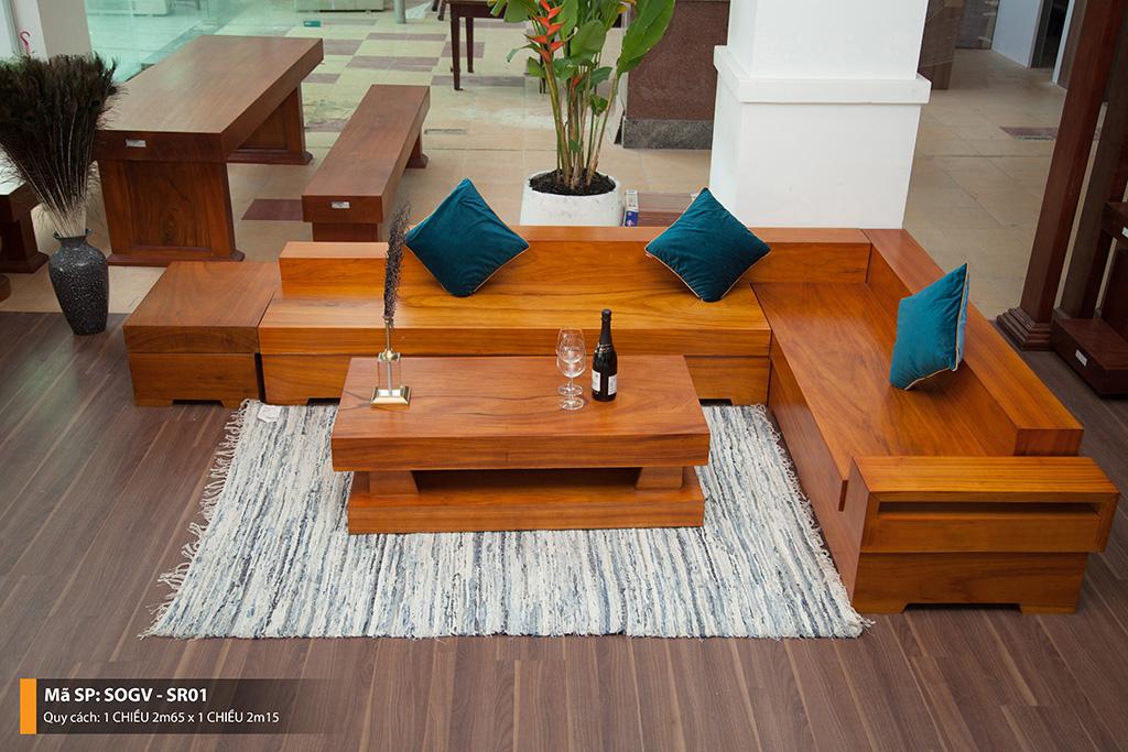 Sofa Gỗ Gõ Vàng Nguyên Tấm SOCV – SR01