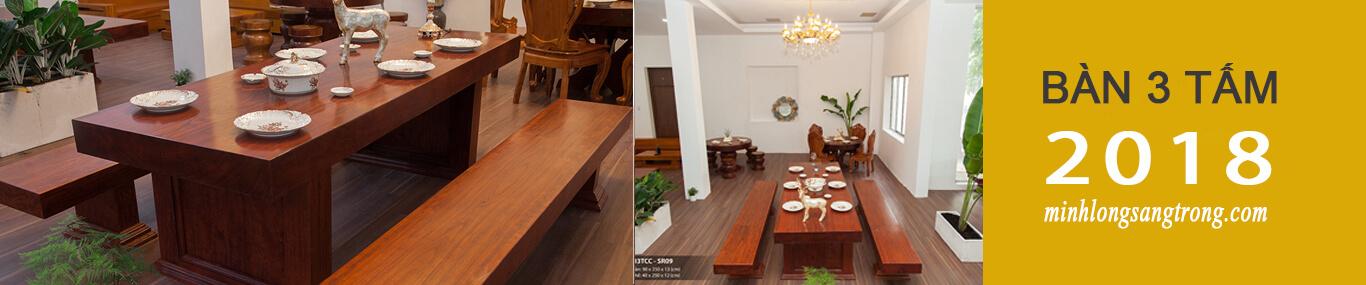 bàn 3 tấm gỗ nguyên tấm