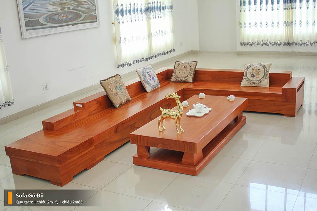 Sofa Gỗ Gỏ Đỏ Nguyên Tấm Tuyệt Đẹp