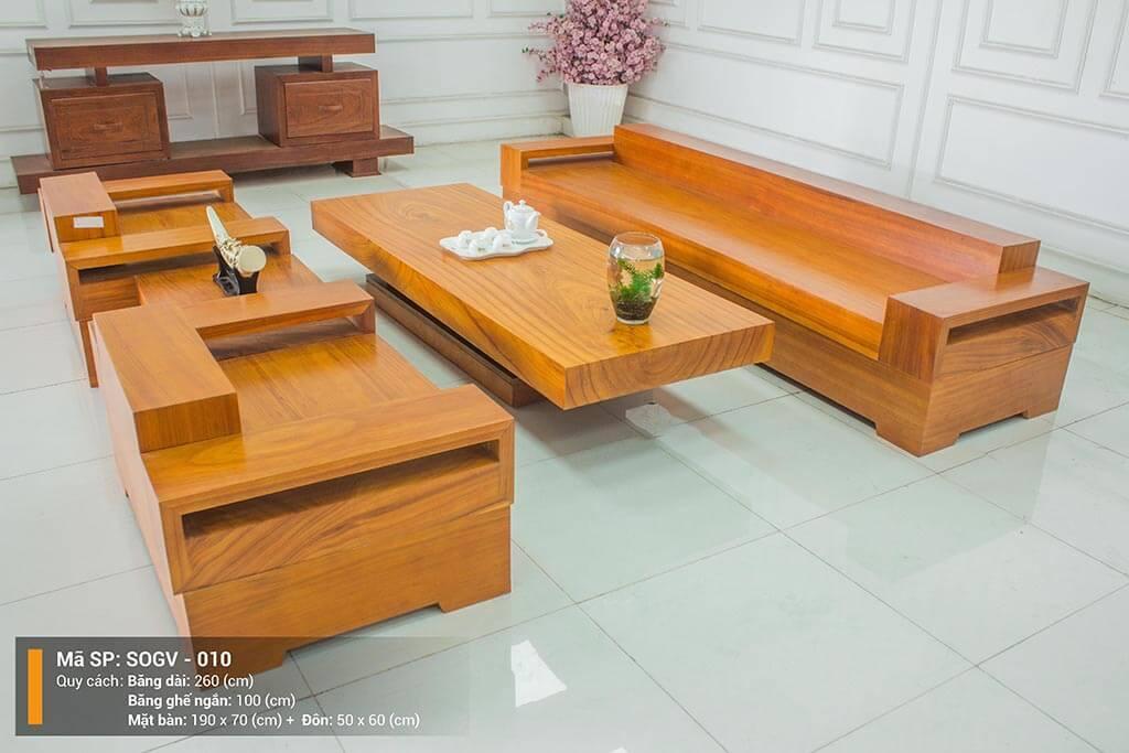 Sofa Gỗ Gõ Vàng Nguyên Tấm SOGV – 010