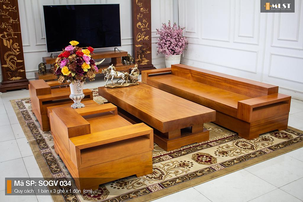 Sofa Gỗ Gõ Vàng Nguyên Tấm SOGV