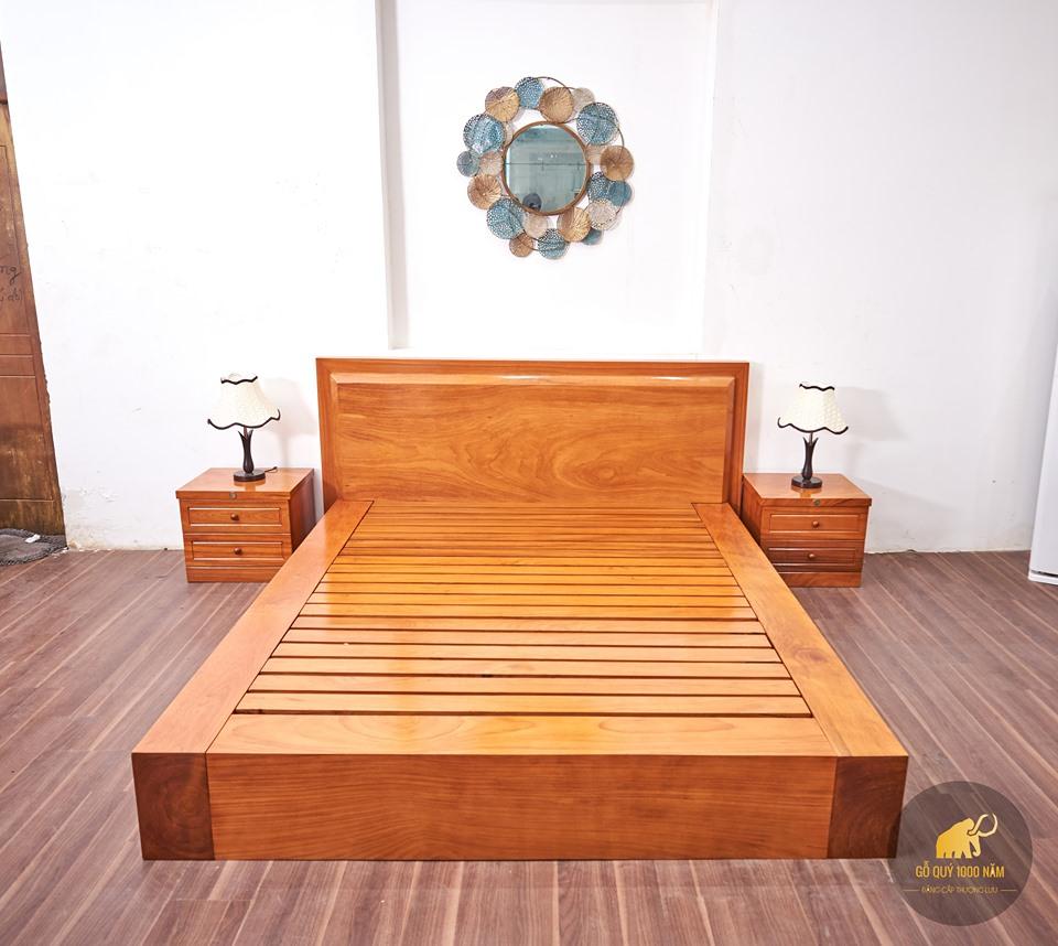 Giường Gỗ Gõ Đỏ Nguyên Tấm GIGĐ-003